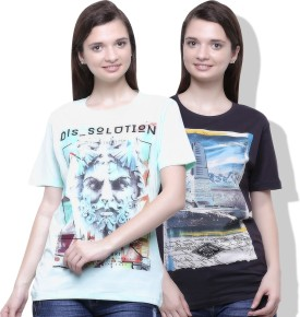 Go India Store Printed Women's Round Neck Light Green, Grey T-Shirt Pack Of 2