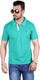 Shineway Solid Men's Polo Neck Green T-Shirt