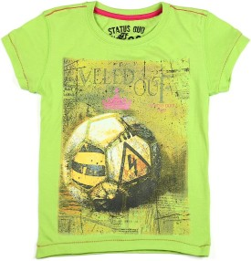 Status Quo Cubs Printed Boy's Round Neck Green T-Shirt