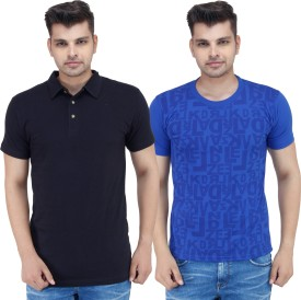 Stylogue Solid, Printed Men's Polo Neck, Round Neck T-Shirt Pack Of 2