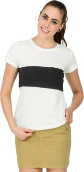 Alibi Solid Women's Round Neck White T-Shirt