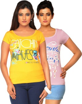 Jazzup Printed Women's Round Neck Yellow, Pink T-Shirt Pack Of 2