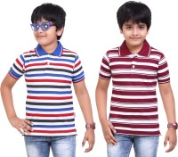 Dongli Striped Baby Boy's Polo Neck Maroon, Dark Blue T-Shirt (Pack Of 2)