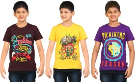 Dongli Printed Boy's Round Neck Brown, Yellow, Purple T-Shirt Pack Of 3