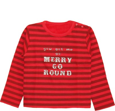 Little Aiva My Little Lambs Striped Baby Girl's Round Neck T-Shirt (Red)
