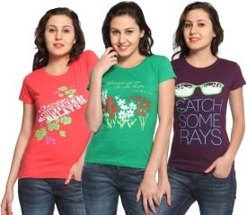 Maatra Printed Women's Round Neck Red, Green, Purple T-Shirt Pack Of 3