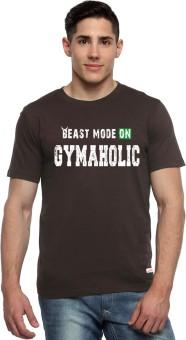 ADRO Printed Men's Round Neck Brown T-Shirt - TSHEGG5VNA2M9JZ5