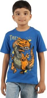 Menthol Solid, Animal Print Boy's Round Neck Blue T-Shirt