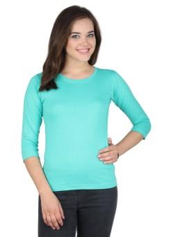 SayItLoud Green Solid Women's Round Neck T-Shirt