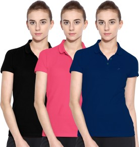 Polo Nation Solid Women's Polo Neck Blue, Pink, Black T-Shirt Pack Of 3