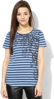 Tshirt Company Striped Women's Round Neck Blue T-Shirt