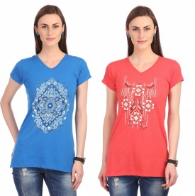 Neva Graphic Print Women's V-neck Red, Blue T-Shirt Pack Of 2