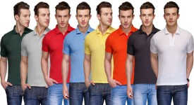 Teesort Solid Men's Polo Neck Multicolor T-Shirt