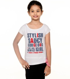 Menthol Printed Girl's Round Neck White T-Shirt