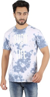 New Caro Printed Men's Round Neck White, Grey T-Shirt