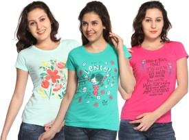 Maatra Printed Women's Round Neck Blue, Green, Pink T-Shirt Pack Of 3