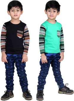 Illicit Nation Solid Boy's Round Neck Green, Black T-Shirt Pack Of 2