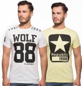 Yo Republic Printed Men's Round Neck White, Yellow T-Shirt Pack Of 2