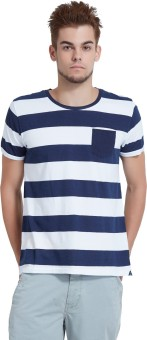 Breakbounce Striped Men's Round Neck Blue T-Shirt