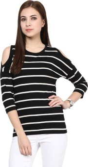 Hypernation Striped Women's Round Neck Black T-Shirt