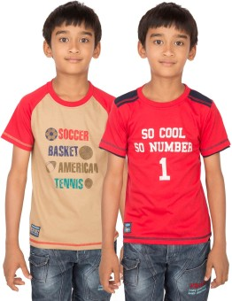 Ocean Race Graphic Print Boy's Round Neck Brown, Red T-Shirt Pack Of 2