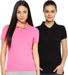 Go India Store Solid Women's Polo Neck Black, Pink T-Shirt Pack Of 2