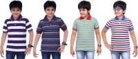 Dongli Striped Baby Boy's Polo Neck Purple, Blue, Green, Dark Blue T-Shirt (Pack Of 4)