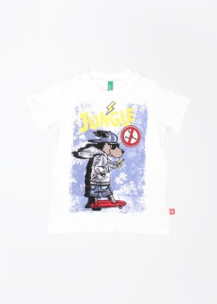 UCB Printed Boy's Round Neck White T-Shirt