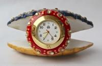 Dekor World Hand Painted Marble Sheel Watch Analog Clock Clock - Multi