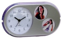Gromo Family Photo Frame With Time Display (Oval Shape) Analog Clock Clock - Silver