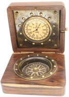 Prachin With Compass In Box Clock Clock - Antiq Brass - Wooden