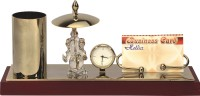 YNA Beautiful Ganesha Idol With Pen Holder & Card Holder Gold Plated Tableclock Analog Clock (Gold, Silver)