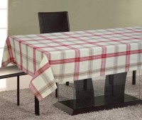Home Boutique Checkered 4 Seater Table Cover Red, Off White, Cotton