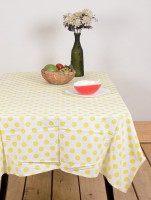 Ocean Collection Poll Ka Dott Floral Print Table Cover (Yellow, Pack Of 1)