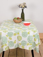 Ocean Home Store Floral 6 Seater Table Cover Green, Cotton