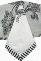 Raghuraj Lifestyle Printed 4 Seater Table Cover Black, White, Cotton
