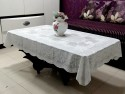Katwa Clasic Rose Lace Vinyl Center Table Cover - White, Pack Of 1