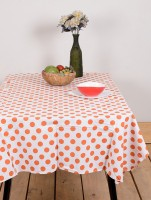 Ocean Collection Poll Ka Dott Floral Print Table Cover (Orange, Pack Of 1)