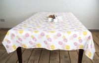 Ocean Collection Floral Print 6 Seater Table Cover Orange, Cotton
