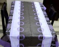 Portia Geometric 6 Seater Table Cover Purple, PVC