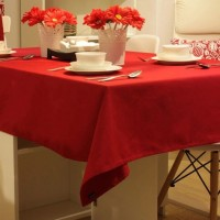 Smart Home Solid 6 Seater Table Cover Red, Cotton