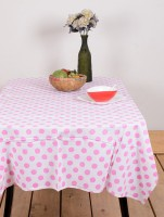 Ocean Collection Poll Ka Dott Floral Print Table Cover (Pink, Pack Of 1)