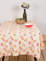 Ocean Home Store Floral 8 Seater Table Cover Orange, Cotton
