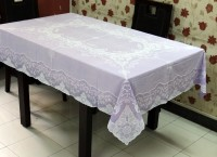 Katwa Clasic Fancy Design Lace Vinyl Dining 6 Seater Table Cover Purple, PVC