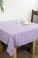 Chromatic Collection Floral 6 Seater Table Cover Purple, Cotton