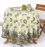 Ocean Home Store Floral 4 Seater Table Cover Brown, Cotton