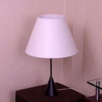 Craftter Khadi Textured Febric Metal Base Table Lamp (56 Cm, White)