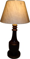 Diya Designs Wood And Brass With Linen Silk Shade Table Lamp (32 Cm, Multicolor)