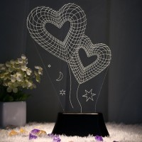 BonZeal Heart 3D (Double Heart) Table Lamp (27 Cm, Red)