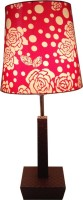 Diya Designs Leather Finish With Dimmer And Red &White Shade Table Lamp (30 Cm, Multicolor)